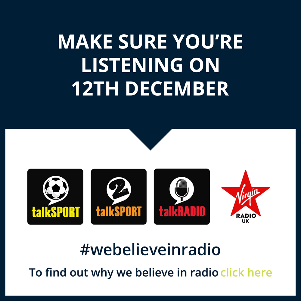 Make sure you're listening on 12th Decemeber, #webelieveinradio. To find out why we believe in radio click here